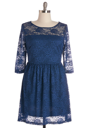 Style Savant Dress in Plus Size - Knit, Lace, Blue, Solid, Lace, Party, A-line, 3/4 Sleeve, Better, Scoop