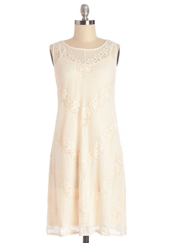 Crêpe Taster Dress - Solid, Lace, Daytime Party, Festival, Shift, Sleeveless, Summer, Woven, Better, Scoop, Mid-length, Sheer, Lace, Cream, Wedding, Bride, Boho