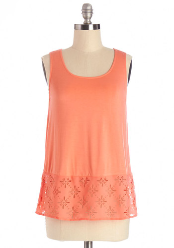 Firelit Fete Top - Mid-length, Woven, Solid, Cutout, Sleeveless, Summer, Orange, Sleeveless, Coral, Scoop, Good