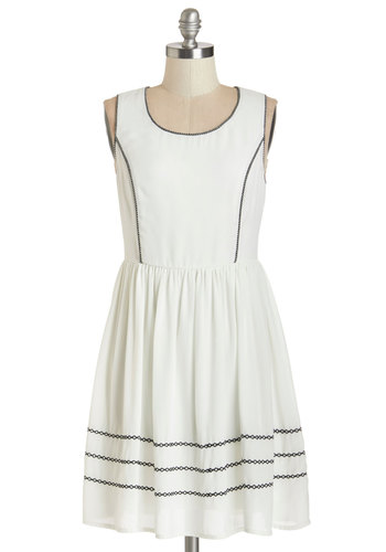 Licorice Kissed Dress - White, Black, Trim, Casual, Sundress, A-line, Sleeveless, Summer, Woven, Good, Scoop, Short