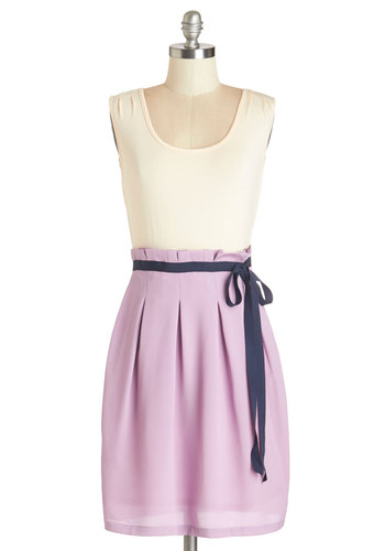 Scenic Road Trip Dress in Cream and Lavender by Pink Martini - Purple, Tan / Cream, Belted, Twofer, Sleeveless, Better, Scoop, Pleats, Casual, Exclusives, Variation, Pastel, Jersey, Mixed Media, Sundress, Social Placements, Mid-length