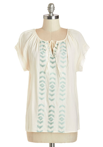 Light Lunch Top - Better, White, Sleeveless, Mid-length, Woven, Cream, Embroidery, Casual, Beach/Resort, Boho, Vintage Inspired, 70s, Festival, Short Sleeves, Spring, Summer, Good