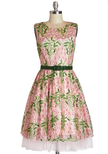 Eva Franco Joy de Vivre Dress by Eva Franco - Green, Pink, Prom, Floral, Belted, Special Occasion, Vintage Inspired, 50s, Fit & Flare, Sleeveless, Summer, Woven, Better, Scoop, Long, Embroidery, Tiered, Wedding, Bridesmaid, Spring, Tulle