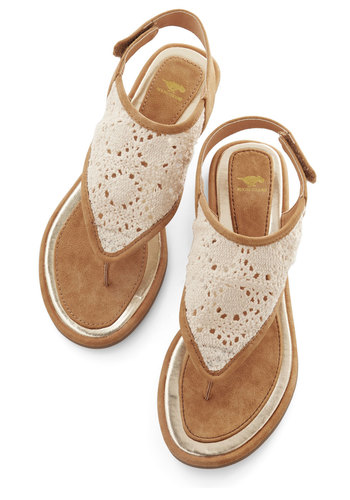 Belize It Or Not Sandal - Flat, Faux Leather, Woven, Tan / Cream, Crochet, Beach/Resort, Boho, Summer, Better, Festival, Cream, Casual, Social Placements