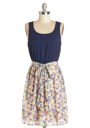 Bounty of Beauty Dress - Multi, Floral, Belted, Casual, A-line, Sleeveless, Summer, Woven, Good, Scoop, Mid-length, Blue, Pink, Sundress, Social Placements