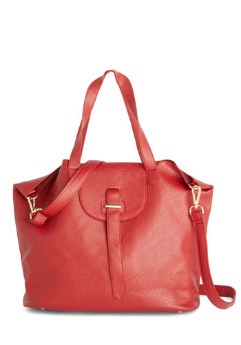 Sun Up and Running Bag - Red, Solid, Work, Red, Faux Leather, Luxe, Fall, Winter
