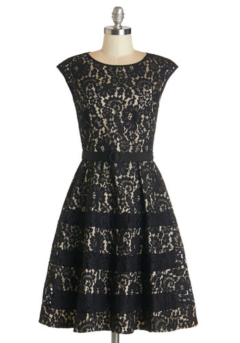 Renowned Romance Dress - Black, Tan / Cream, Cutout, Lace, Belted, Special Occasion, Fit & Flare, Cap Sleeves, Woven, Better, Scoop, Mid-length, Knit, Lace, A-line, Wedding, Bridesmaid, Cocktail