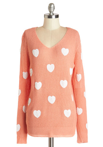 Hearts to Believe Sweater - Pink, Long Sleeve, Mid-length, Knit, Mixed Media, Novelty Print, Darling, Long Sleeve, Coral, Casual, V Neck