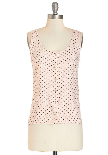 Fond of Each Other Top - Mid-length, Woven, Pink, Novelty Print, Buttons, Darling, Sleeveless, Pink, Sleeveless, Casual, Scoop