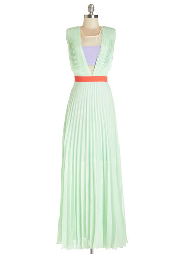 Sherbet Surprise Dress - Multi, Pleats, Party, Colorblocking, Maxi, Sleeveless, Summer, Woven, Better, Scoop, Long, Sheer, Mint, Pastel
