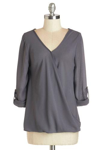Creative Clockmaker Top - Grey, Tab Sleeve, Mid-length, Woven, Grey, Solid, Work, 3/4 Sleeve