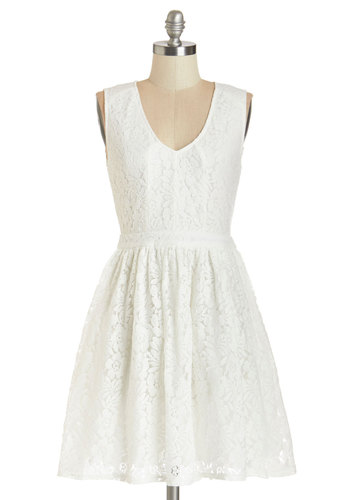 Promenade to the Party Dress - White, Solid, Lace, Daytime Party, Graduation, A-line, Sleeveless, Summer, Woven, Good, V Neck, Mid-length, Lace, Sundress, Social Placements