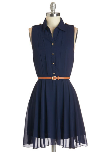 Client Lunch Dress - Blue, Solid, Buttons, Belted, Casual, A-line, Sleeveless, Summer, Woven, Good, Collared, Short, Chiffon, Social Placements