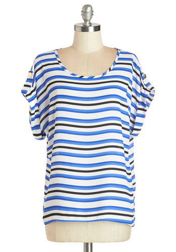 Breeze and Bevs Top in Blue & Black - Mid-length, Woven, Blue, Black, White, Stripes, Casual, Short Sleeves, Scoop, Blue, Short Sleeve, Variation