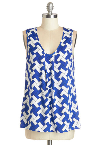 Chic Solution Top - Blue, Sleeveless, Mid-length, Woven, Blue, White, Print, Work, Daytime Party, Sleeveless, Scoop, Social Placements