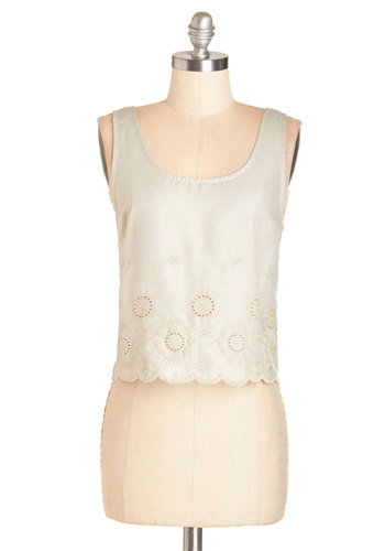 Dried Sage Top - Short, Cotton, Woven, Green, Solid, Daytime Party, Sleeveless, Spring, Summer, Green, Sleeveless, Cropped, Embroidery, Scallops, Casual, Boho, Pastel, Festival, Scoop, Social Placements, Good
