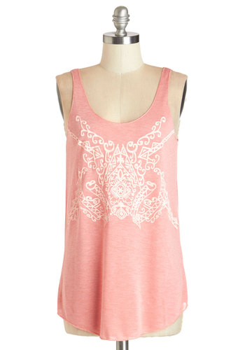 Fest Prep Top in Pink - Mid-length, Knit, Pink, Print, Casual, Pastel, Tank top (2 thick straps), Spring, Summer, Pink, Sleeveless, White, Scoop