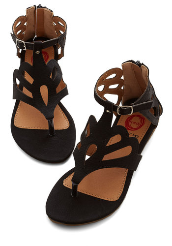 What's the Loop? Sandal in Black - Flat, Faux Leather, Black, Solid, Cutout, Beach/Resort, Summer, Variation, Good