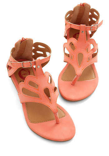 What's the Loop? Sandal in Coral - Flat, Faux Leather, Coral, Solid, Cutout, Beach/Resort, Summer, Good, Variation, Social Placements