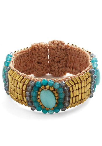 Powers That Bead Bracelet - Blue, Green, Solid, Beads, Luxe, Folk Art, Gold, Blue, Fall