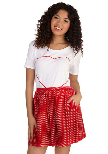 Rouge that Girl? Skirt - Good, Red, Short, Woven, Casual, Full, Spring, Summer, Red, White, Polka Dots, Pockets
