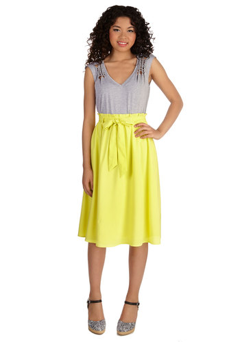 Sorbet All Day Skirt - A-line, Good, Yellow, Long, Woven, Casual, Spring, Summer, Yellow, Solid, Belted