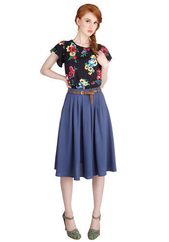 Breathtaking Tiger Lilies Skirt in Blue - Good, Blue, Woven, Full, Best Seller, Work, Blue, Solid, Belted, High Waist, Pleats, Pockets, Daytime Party, Variation, Top Rated, Gals, Exclusives, Long