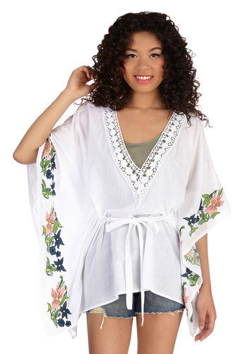 Airy Much So Top - Long, Cotton, Sheer, Woven, White, Floral, Embroidery, Daytime Party, Beach/Resort, Boho, Vintage Inspired, 70s, Festival, Short Sleeves, Spring, Summer, White, Short Sleeve, Crochet, Belted, V Neck