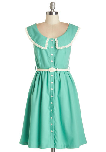 Perfect Pastures Dress by Myrtlewood - Woven, Mint, White, Solid, Pockets, Belted, Casual, A-line, Sleeveless, Better, Collared, Buttons, Lace, Trim, Vintage Inspired, Exclusives, Private Label, Show On Featured Sale, Mid-length