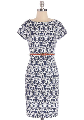Coffee in the Courtyard Dress - White, Print, Pockets, Belted, Woven, Good, Boat, Mid-length, Blue, Work, Short Sleeves, Sheath