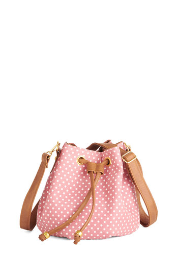Quick Dash Bag - Pink, Tan / Cream, White, Polka Dots, Casual, Faux Leather, Woven, Travel, Social Placements