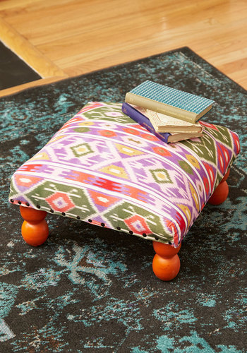 Splay a While Ottoman by Karma Living - Woven, Cotton, Multi, Boho, Dorm Decor, Best, Print, Social Placements
