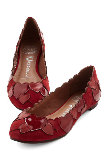 Heart to Finish Flat by Jeffrey Campbell - Flat, Leather, Suede, Red, Solid, Novelty Print, Party, Valentine's, Quirky, Darling, Best, Social Placements