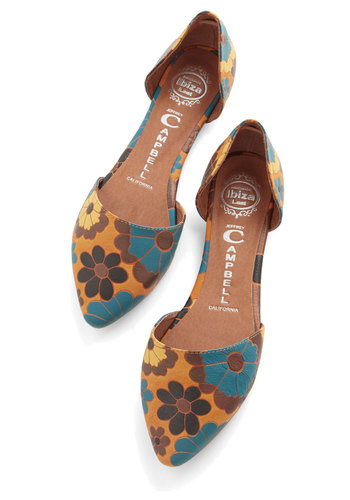 Run the Flower Show Flat by Jeffrey Campbell - Flat, Leather, Floral, Daytime Party, Vintage Inspired, 60s, 70s, Best, Multi, Yellow, Festival, Boho