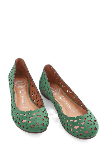 A Good Vine Had by All Flat by Jeffrey Campbell - Flat, Leather, Green, Solid, Cutout, Daytime Party, Darling, Best