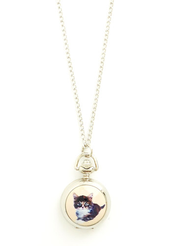 Have You Cat the Time? Pocket Watch Necklace - Multi, Print with Animals, Casual, Cats, Gold, Pocketwatch, Better, Critters