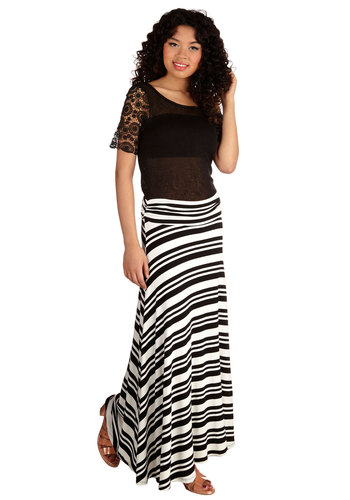Drama Camp Queen Skirt - Long, Jersey, Knit, Casual, Maxi, Spring, Summer, Black/White, Stripes, White, Ruching, Beach/Resort, Nautical, Good