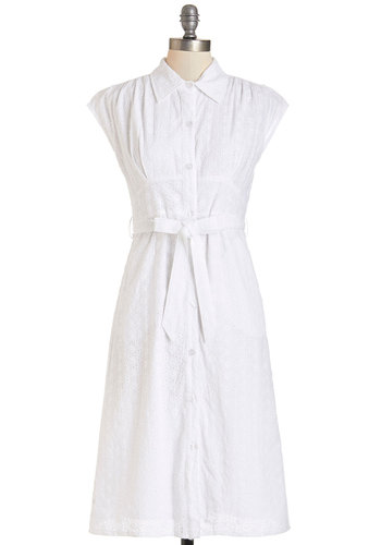 Eyelets Be Friends Dress - White, Solid, Buttons, Eyelet, Belted, Casual, A-line, Shirt Dress, Cap Sleeves, Better, Collared, Long, Cotton, Woven, Pockets