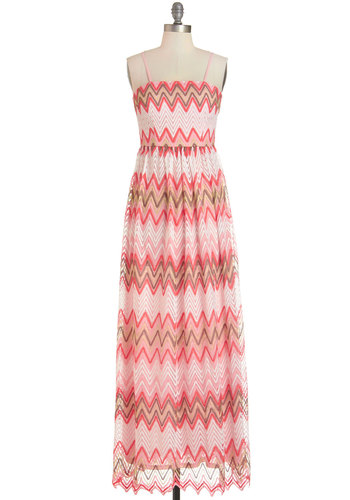 As Good As it Fêtes Dress - Multi, Chevron, Crochet, Casual, Vintage Inspired, 70s, Festival, Maxi, Summer, Long, Knit, Pink, Spaghetti Straps, Boho
