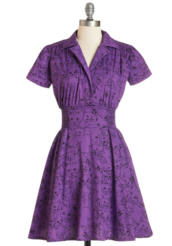 One to Watch Dress in Feline - Purple, Black, Print with Animals, Casual, Cats, A-line, Short Sleeves, Woven, Better, Collared, Variation, Pockets, Critters, Mid-length