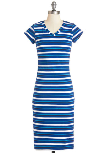Regatta Revelry Dress - Multi, Stripes, Casual, Shift, Cap Sleeves, Summer, Knit, Good, V Neck, Long, Blue, White, Nautical