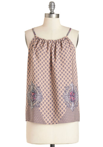 Deep Tea Exploration Top - Sleeveless, Mid-length, Woven, Multi, Print, Spaghetti Straps, Summer, Grey