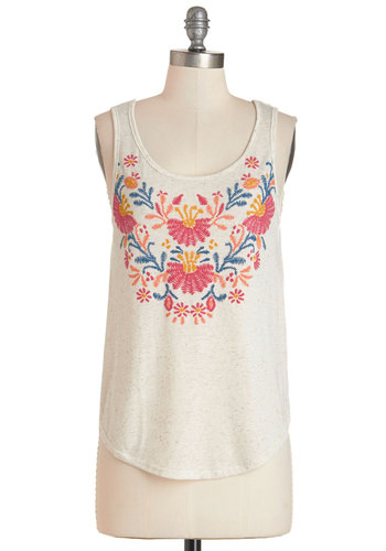 Appellation Mountains Tank - Mid-length, Knit, Cream, Embroidery, Boho, Festival, Sleeveless, Spring, Summer, White, Sleeveless, Scoop, Good