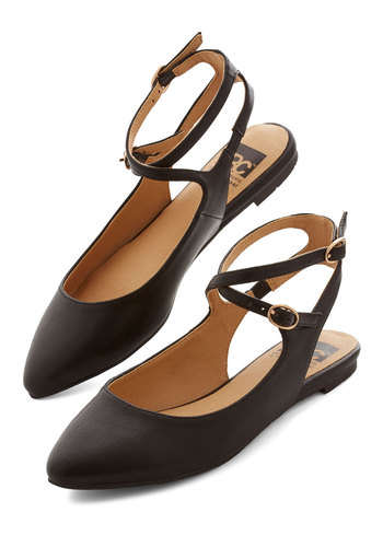 Happy Henceforth Flat in Black by BC Footwear - Flat, Faux Leather, Black, Solid, Variation