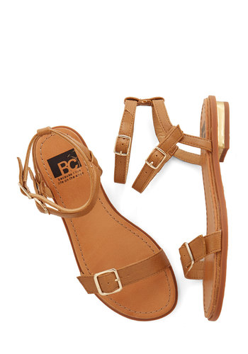 Every Day is Different Sandal in Tan by BC Footwear - Low, Faux Leather, Tan, Solid, Buckles, Beach/Resort, Boho, Summer, Better, Variation, Social Placements