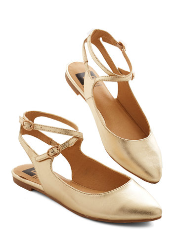 Happy Henceforth Flat in Gold by BC Footwear - Flat, Faux Leather, Gold, Solid, Variation, Social Placements