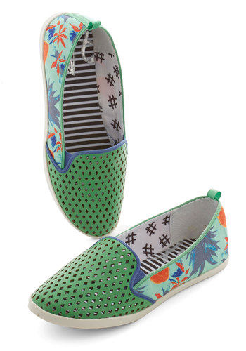 Quite Frond of You Flat by Dolce Vita - Green, Multi, Novelty Print, Cutout, Beach/Resort, Statement, Spring, Summer, Good, Espadrille, Flat, Woven, Casual