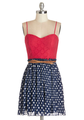 Rock and Rollick Dress - Woven, Red, Blue, Polka Dots, Casual, Americana, Twofer, Spaghetti Straps, Better, Sweetheart, Lace, Pleats, Belted, White