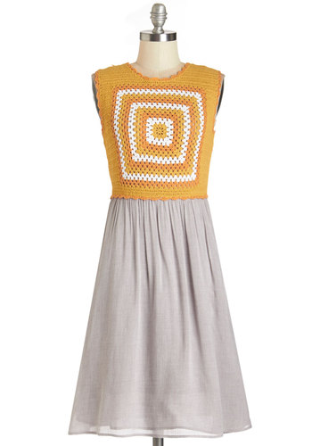 Twofer the Honey Dress by Bea & Dot - Mid-length, Knit, Woven, Yellow, Grey, Crochet, Casual, Twofer, Sleeveless, Better, Knitted, Pockets, Vintage Inspired, 70s, Exclusives, Private Label, Crew, Festival, Boho