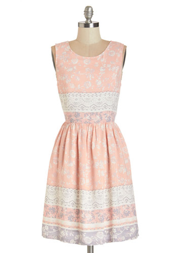 The Sweetest Spring Dress - Multi, Print, Cutout, Casual, Pastel, A-line, Sleeveless, Woven, Better, Scoop, Mid-length, Pink, Purple, White, Top Rated